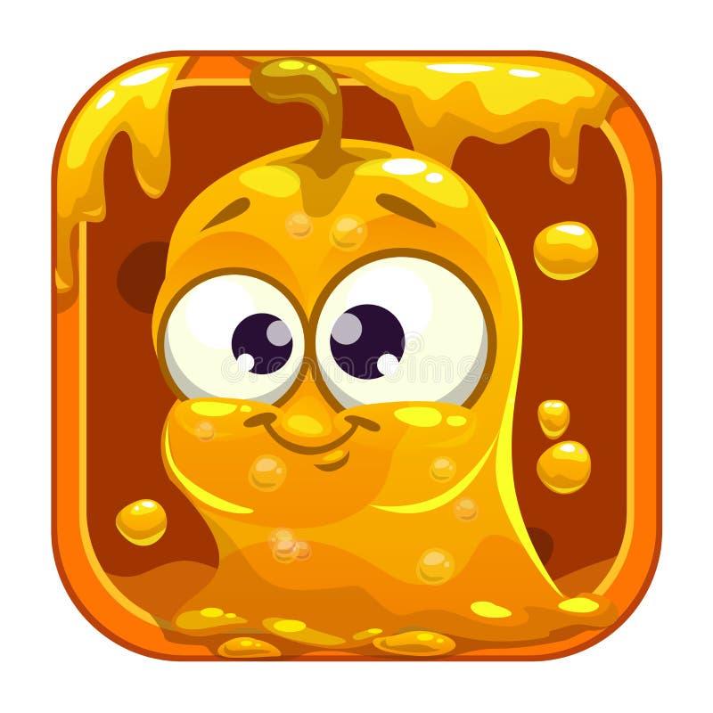 与滑稽的逗人喜爱的黄色黏的妖怪的App象 皇族释放例证