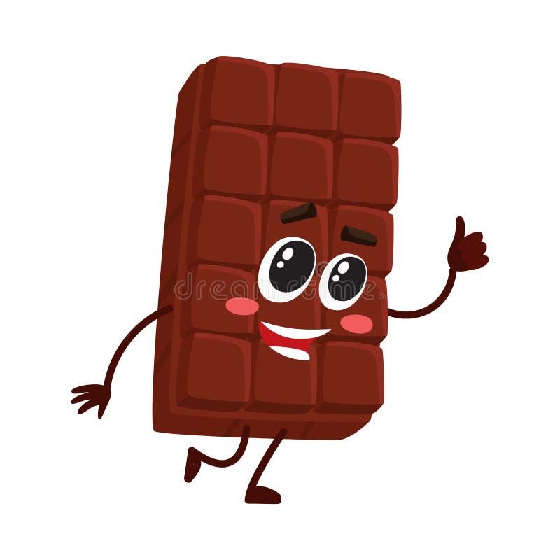 与滑稽的面孔的逗人喜爱的巧克力块字符,给赞许 向量例证