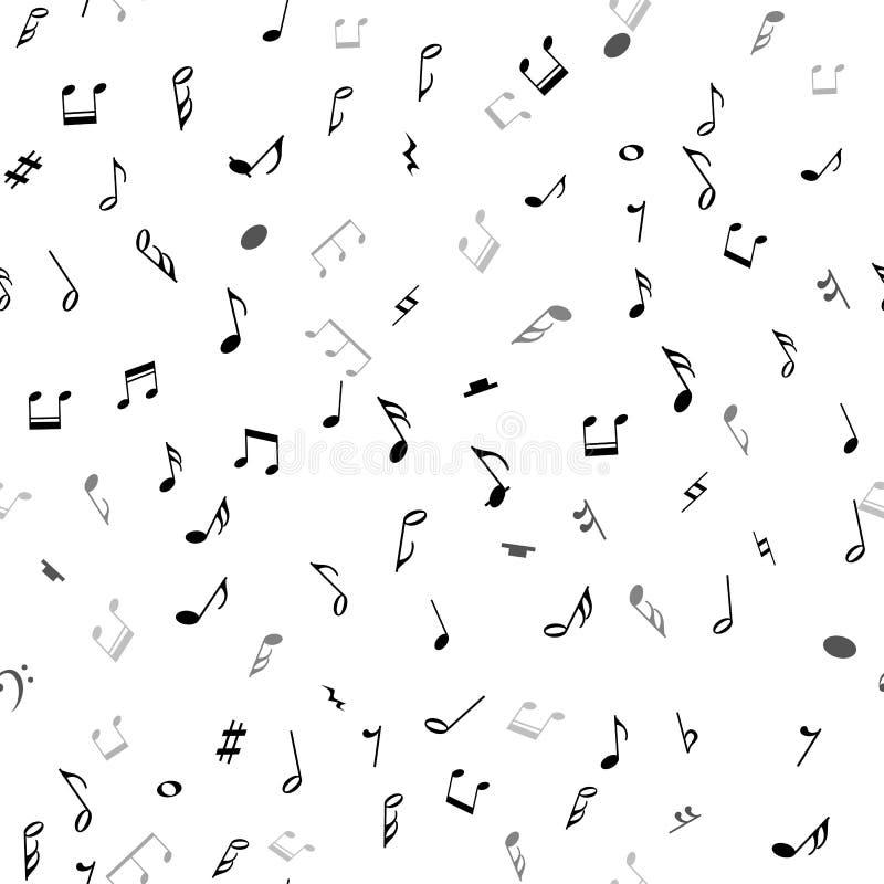 与黑笔记的抽象音乐无缝的样式关于白色背景 库存例证