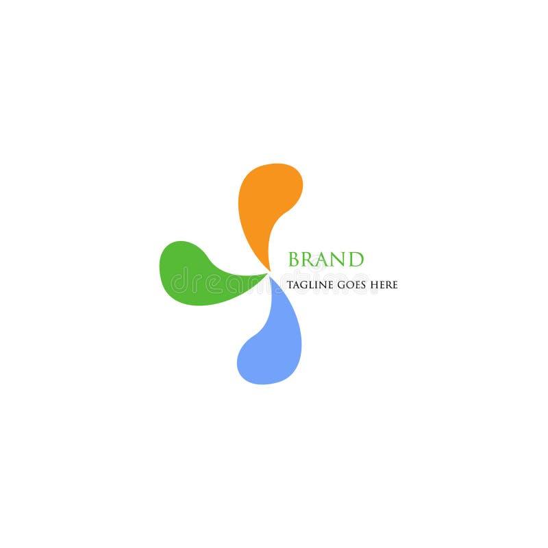 与3简单和有吸引力的颜色的商标技术 库存例证