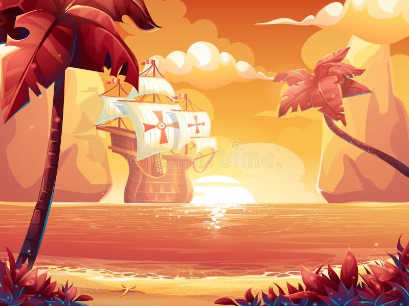 与绯红色太阳、日出或者日落的Galleon在海 皇族释放例证