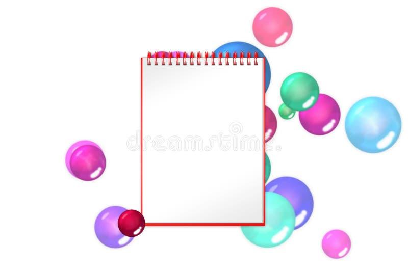 与绯红色球和泡影的空白的笔记薄在背景 库存例证
