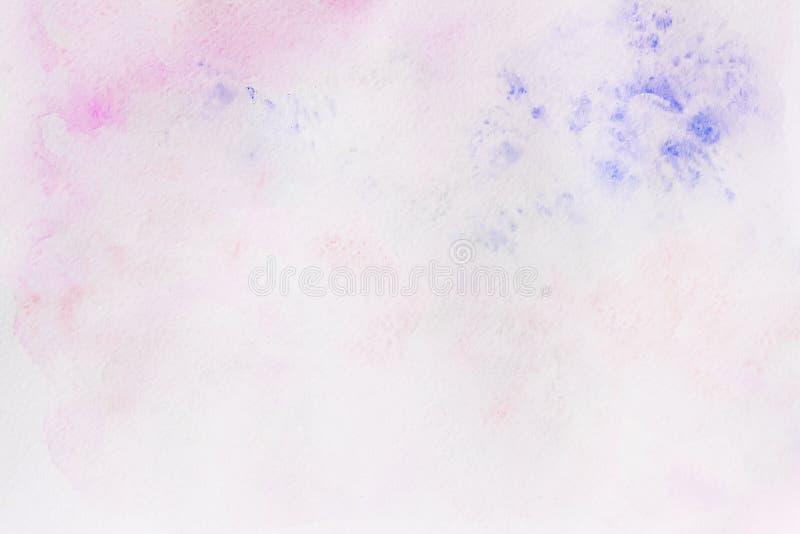 与画纸纹理的水彩桃红色和紫罗兰色抽象手画背景 向量例证