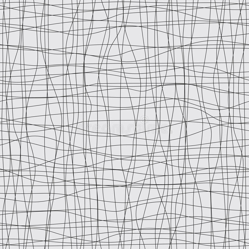 与黑线和曲线的无缝的背景 库存例证