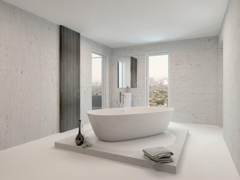 与浴缸的纯净的干净的白色卫生间内部 皇族释放例证