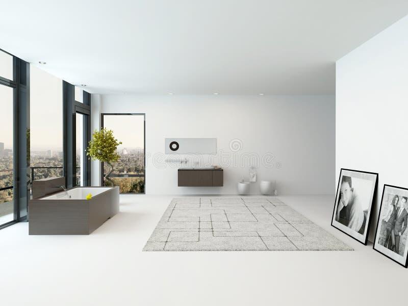 与浴缸的纯净的干净的白色卫生间内部 库存例证