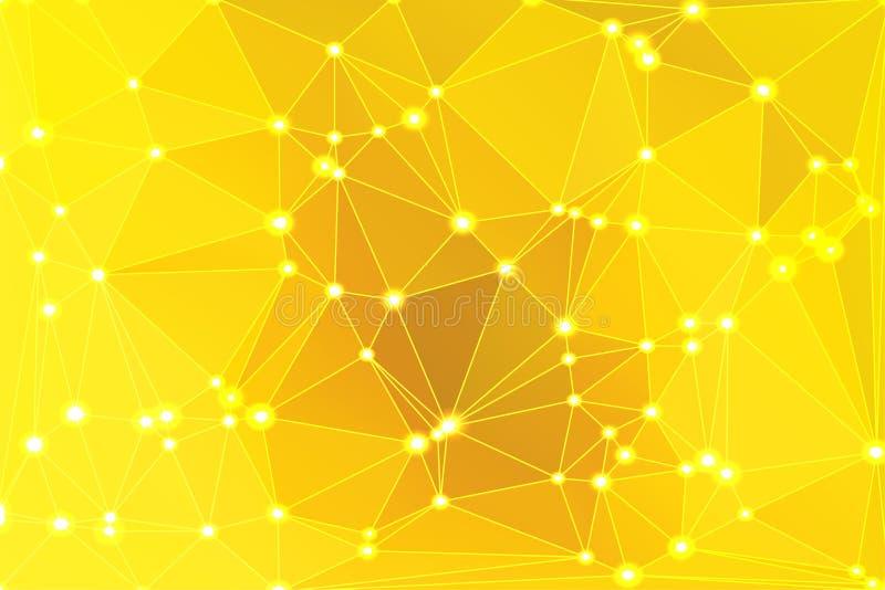 与滤网和光的明亮的金黄黄色几何背景 向量例证