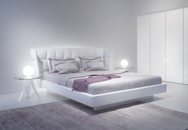 与紫罗兰色口音的现代白色卧室内部 库存例证