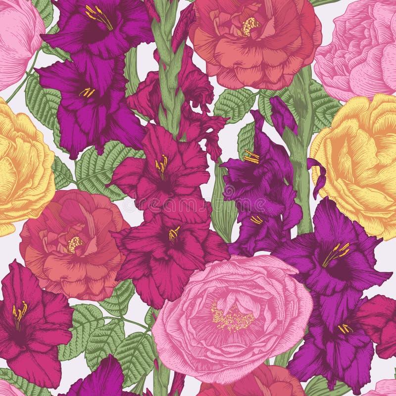 与紫罗兰色和紫色剑兰花,绯红色和黄色玫瑰的花卉无缝的样式 库存例证