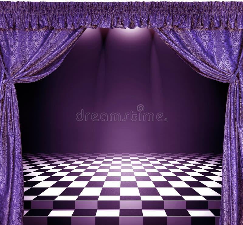 与紫罗兰色帷幕和棋盘地板的内部 向量例证