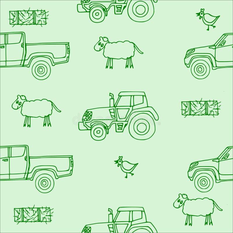 与绵羊的无缝的样式和鸡和干草捆和拖拉机和提取以绿色 库存图片