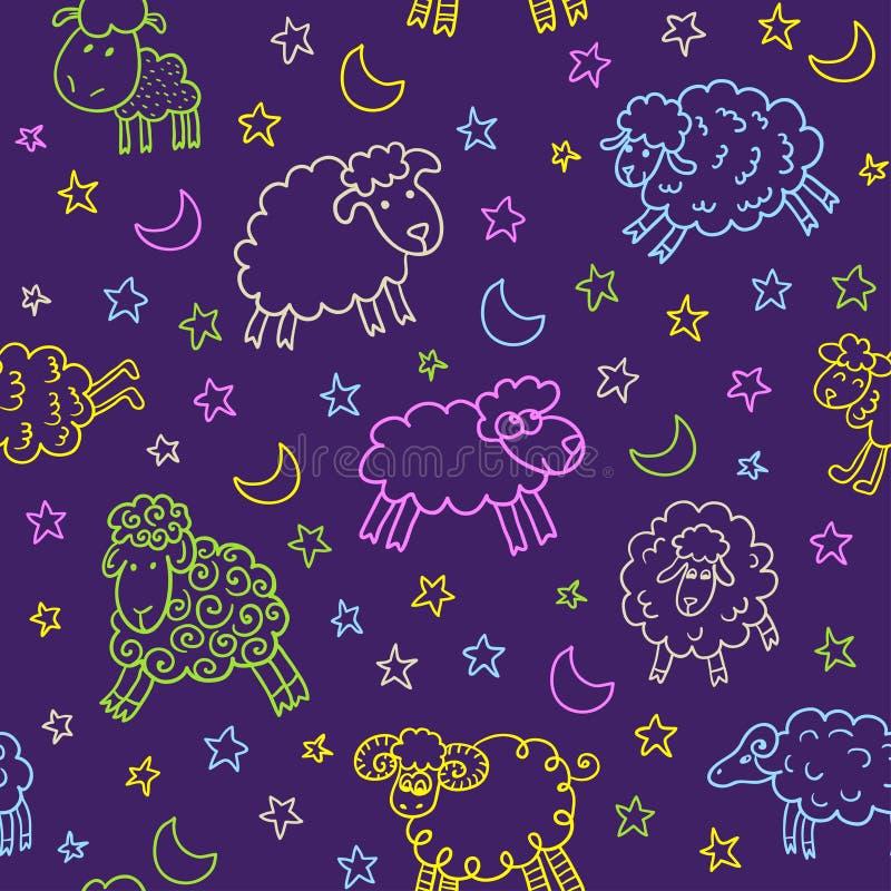 与绵羊的无缝的样式在夜 库存例证
