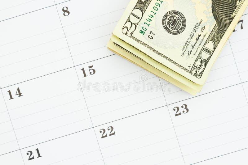 与20美金的月度日历 免版税库存照片