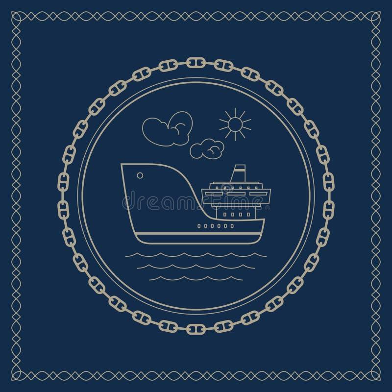 与货船的海洋象征 库存例证