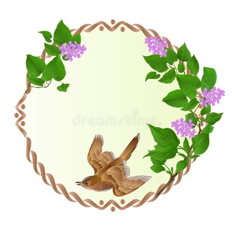 与紫色丁香和逗人喜爱的小唱歌鸟葡萄酒的花卉圆的框架欢乐背景传染媒介 向量例证