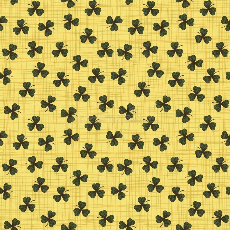 与绿色三叶草的逗人喜爱的滑稽的无缝的背景样式离开 库存例证
