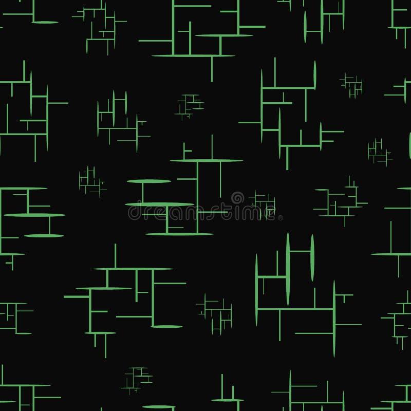 与绿色元素的无缝的纹理 库存例证