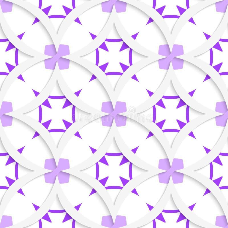 与紫色分层堆积的白色垂直的尖的正方形无缝 皇族释放例证