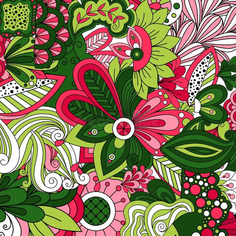 与绿色动画片风格化花的墙纸 库存例证