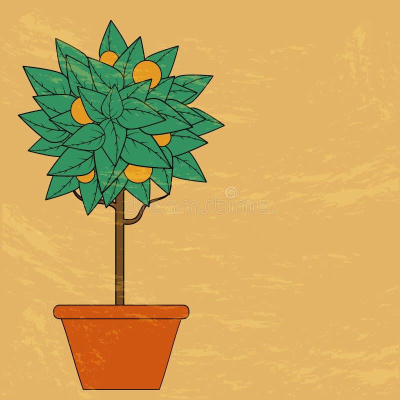与绿色叶子和果子的树在红色的一个花盆在橙色背景 皇族释放例证