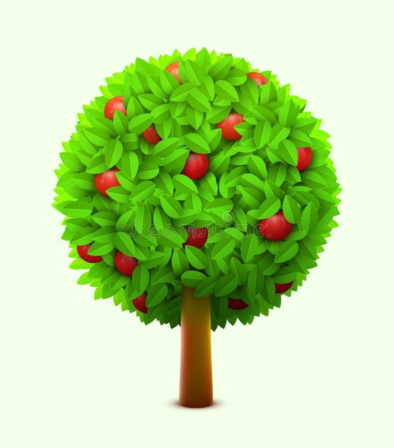 与绿色叶子和红色成熟苹果的逗人喜爱的苹果树 现实夏天树 Eco收获概念 向量例证