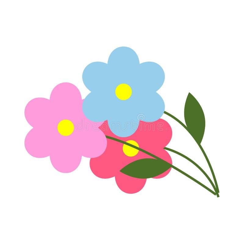 与绿色叶子的三朵花在动画片样式 皇族释放例证