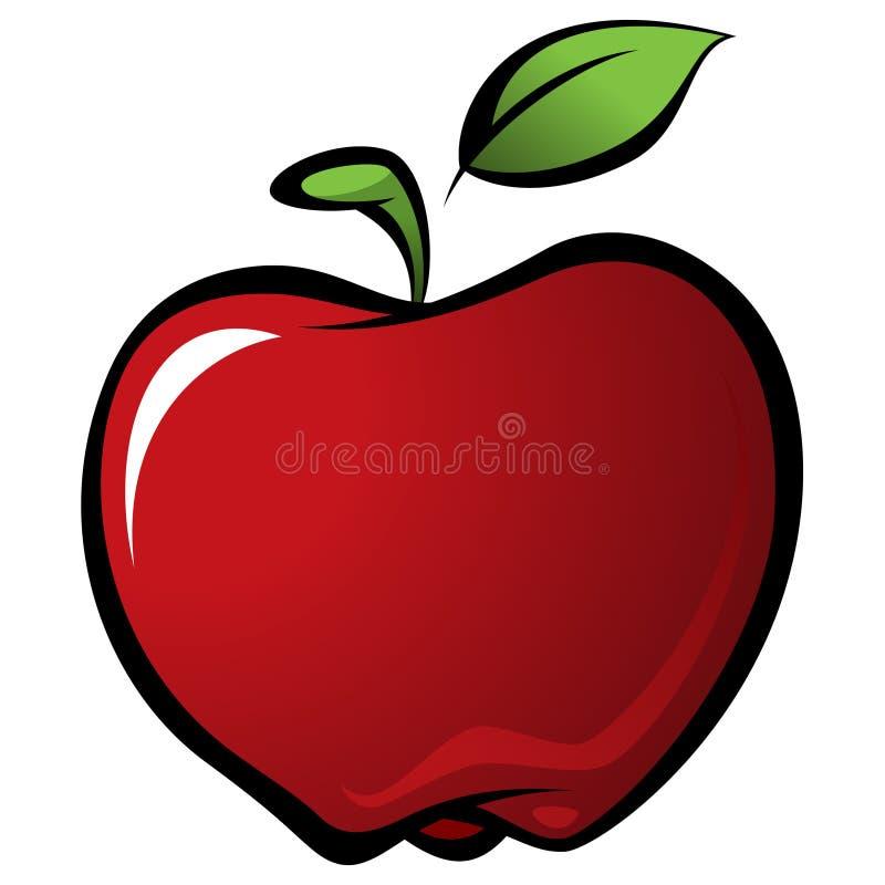 与绿色叶子的动画片发光的可口红色传染媒介新鲜的苹果 向量例证