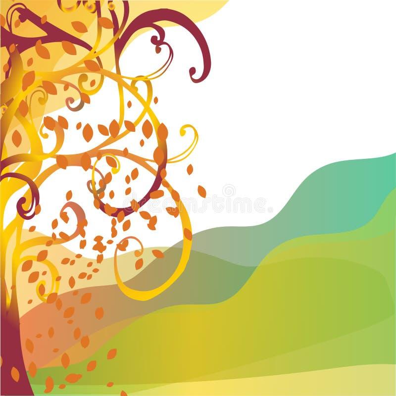 与黄色叶子的抽象背景秋天树 向量例证