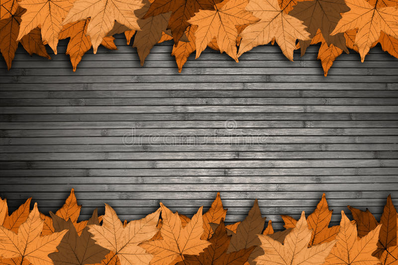与黄色叶子的木背景 库存图片