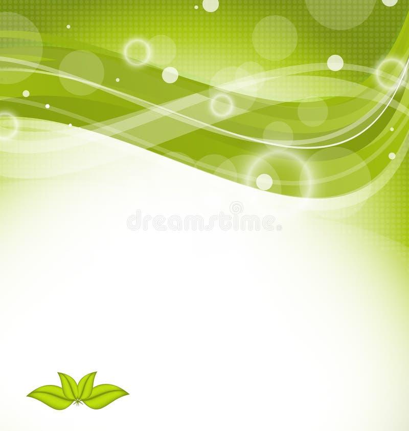 与绿色叶子的波浪自然背景 向量例证