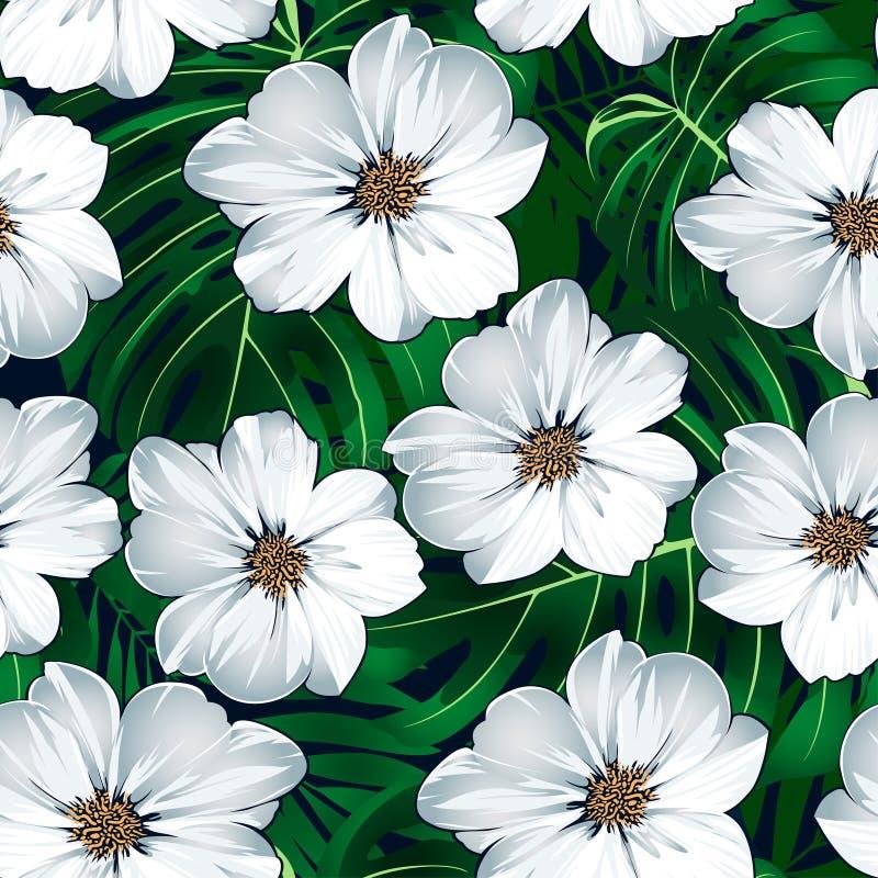 与绿色叶子的白色热带花卉无缝的样式 库存例证