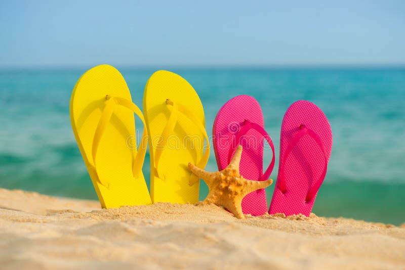 与黄色和桃红色凉鞋的海星在沙子站立以海为背景 库存图片