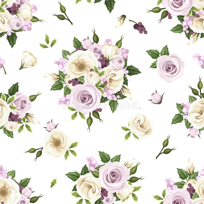 与紫色和白玫瑰和lisianthus的无缝的样式开花 也corel凹道例证向量 库存例证