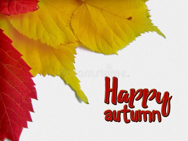 与黄色和红色叶子的愉快的秋天祝贺卡片 库存图片