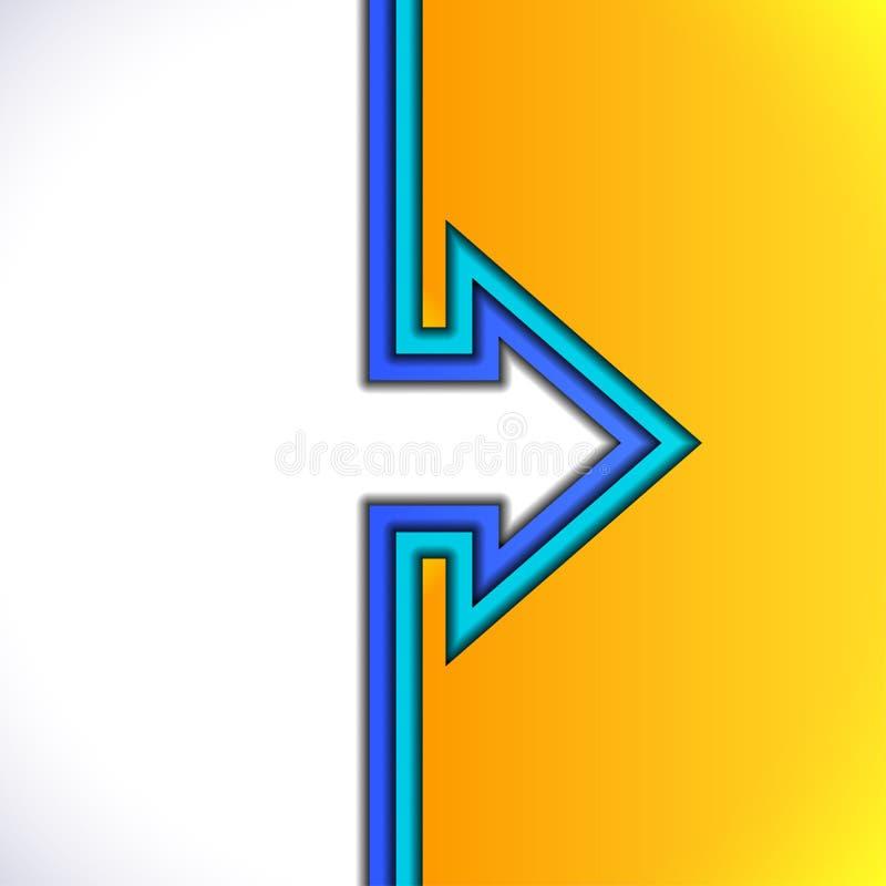 与黄色和蓝纸层数的五颜六色的箭头 皇族释放例证