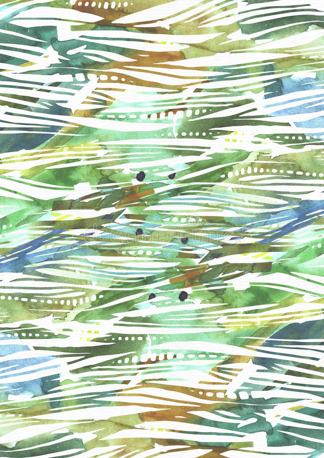 与绿色和蓝色刷子冲程的抽象水彩背景在条纹纹理手拉与徒手画的一滴,飞溅和bl 图库摄影