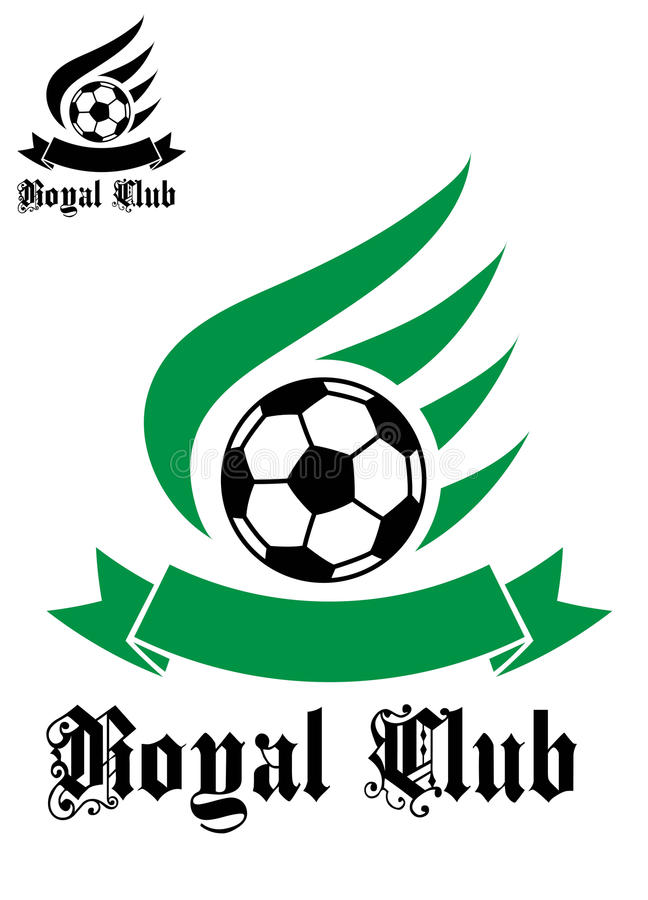 与绿色和黑色的橄榄球或足球标志 向量例证