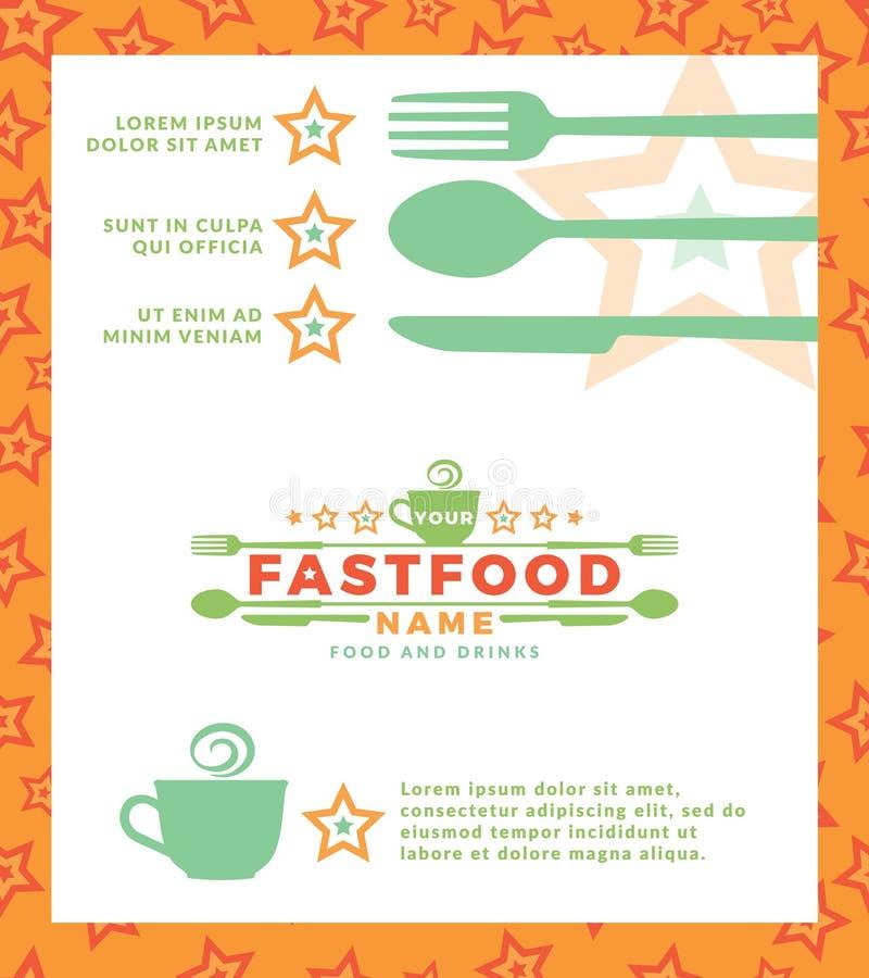 与绿色商标的菜单用词快餐、设计元素匙子和叉子在白色背景 设计模板为 库存例证
