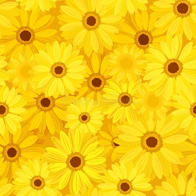 与黄色大丁草花的无缝的背景 也corel凹道例证向量 皇族释放例证