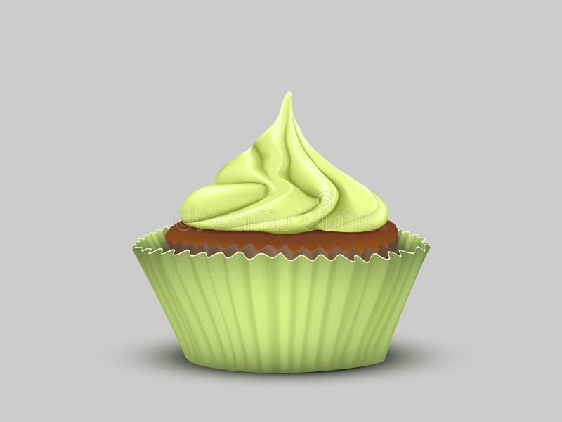 与绿色奶油的可口杯形蛋糕 向量例证