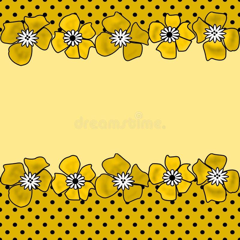 与黄色孩子的花卉无缝的样式开花背景 库存例证