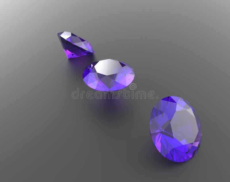 与紫色宝石的背景 3d例证 免版税库存图片