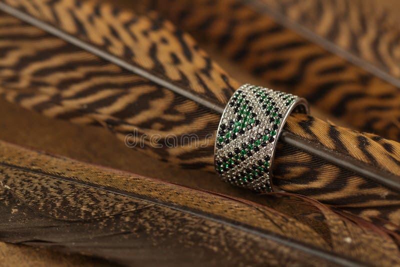 与绿色宝石的银色圆环 免版税库存图片