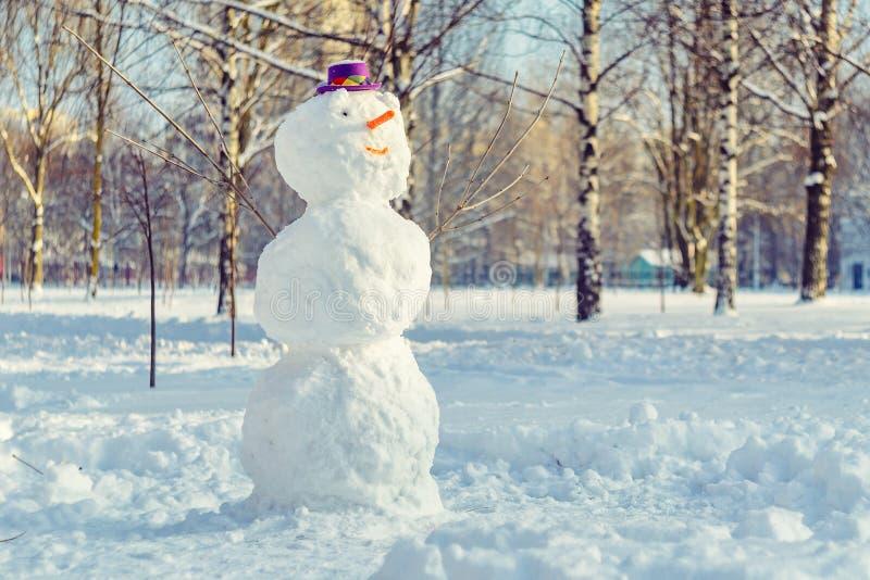 与紫色帽子的雪人 免版税图库摄影