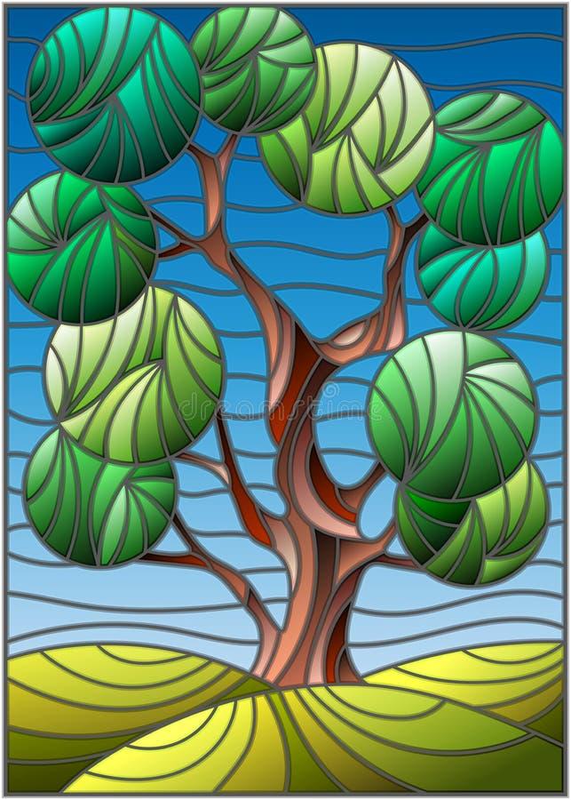 与绿色抽象树的彩色玻璃例证在天空背景 向量例证
