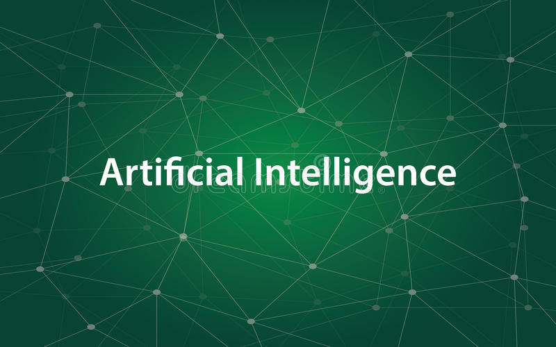 与绿色星座地图的人工智能白色tetx例证作为背景 皇族释放例证