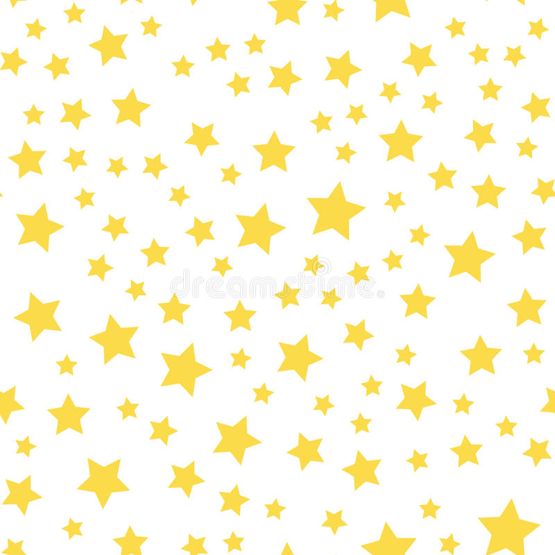 与黄色星的无缝的样式在白色背景 向量 皇族释放例证