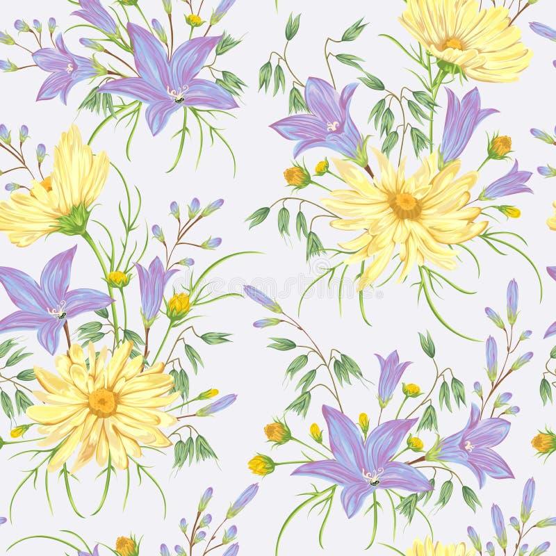 与黄色春黄菊花、蓝色会开蓝色钟形花的草花和燕麦的无缝的样式 土气花卉背景 皇族释放例证