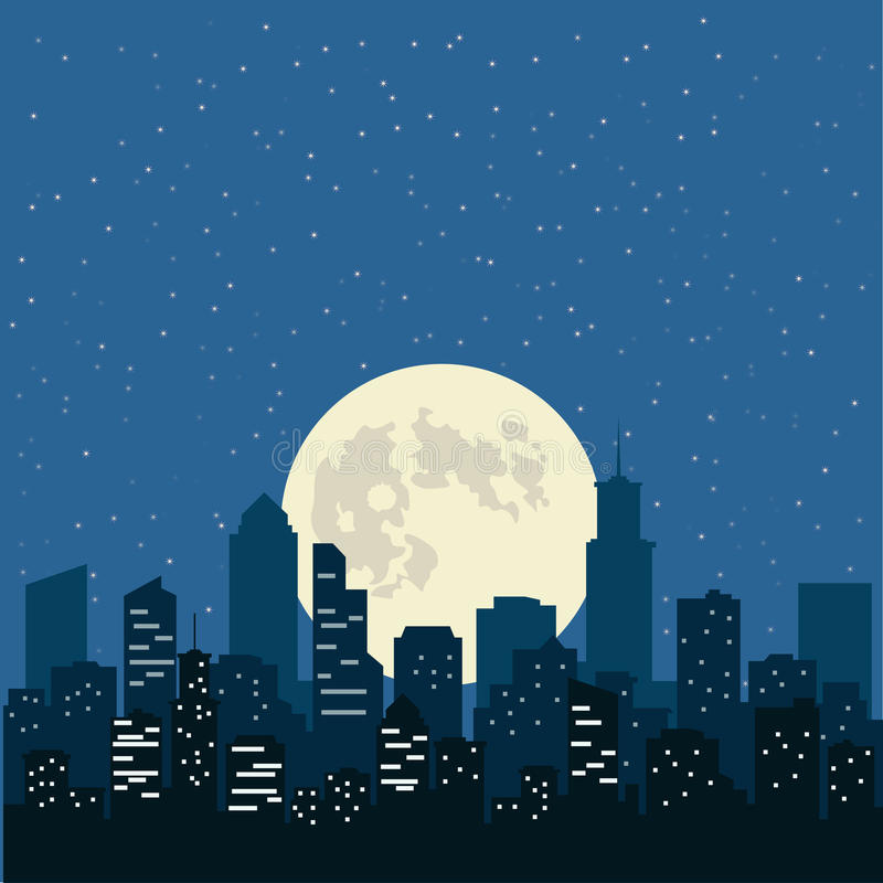 与黄色月亮在城市,例证的夜空 库存例证
