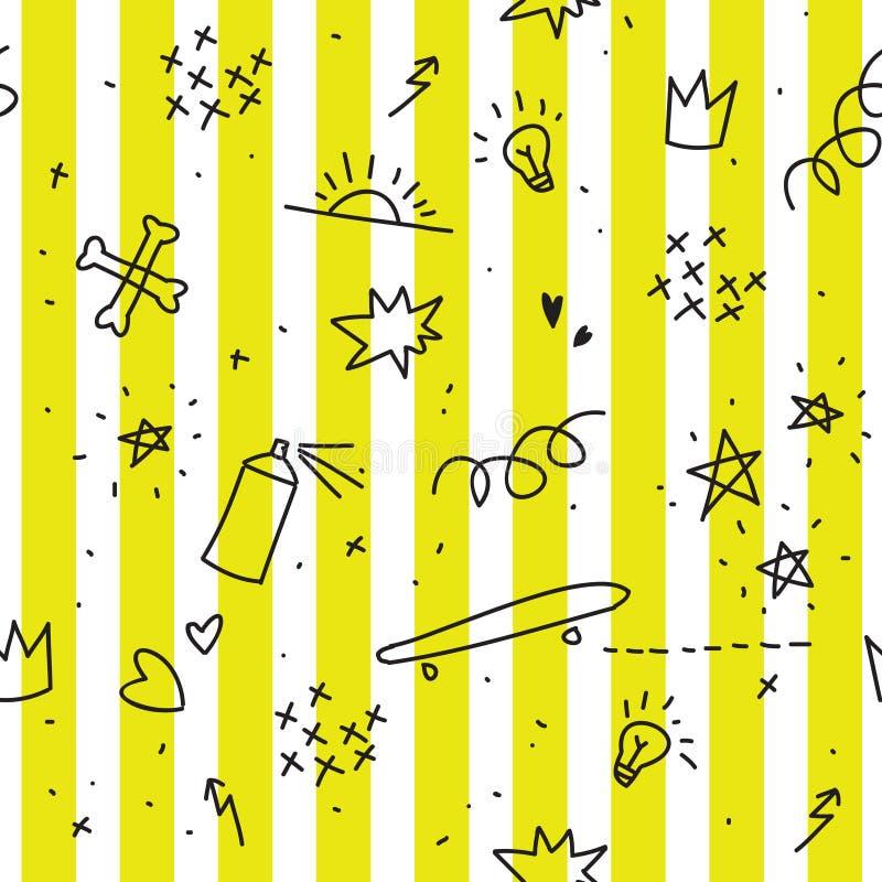 与黄色条纹的少年题材无缝的样式 向量例证